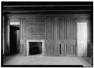 INTERIOR, WOOD PANELED WALLS WITH OPENED FIREPLACE - Thomas Massey House, Lawrence and Springhouse Roads (Marple Township), Broomall, Delaware County, PA HABS PA,23-BROOM.V,1-17.tif