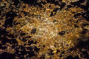 Light pollution - Satellite view of Paris at night (France)