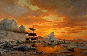 Arctic cooperation and politics - Ice Dwellers Watching the Invaders -- William Bradford, 1875.