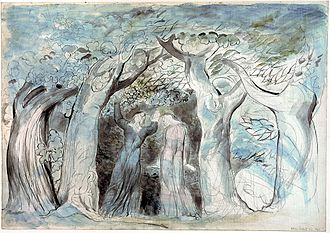 The Wood of the Self-Murderers: The Harpies and the Suicides - Dante Alighieri and Virgil enter the wood, William Blake. From Inferno Canto II 139–141'.