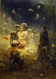 Painting of people and a mermaid underwater, surrounded by fish