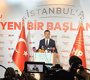 Ekrem Imamoglu of the CHP is the 32nd and current Mayor of Istanbul, elected in 2019. Imamoglu press conference April 3, 2019.jpg