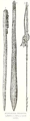 Indigenous Australian knife, club and spearcaster from Ridpath's Universal History (1897).jpg