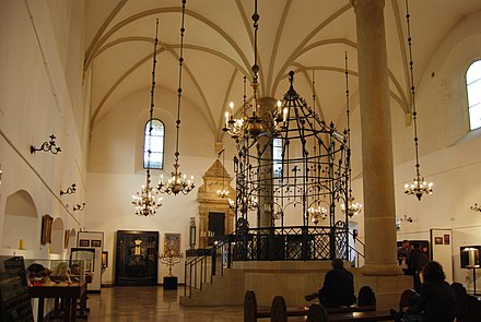The Old Synagogue of Krakow is the oldest standing synagogue in Poland. Hasidic Judaism originated in the Polish-Lithuanian Commonwealth during the 18th century. Inside old synagogue Krakow.JPG