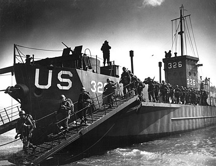 USS LCI-326, a Landing Craft Infantry, during training for D-Day. Invasion Training in England 02.jpg