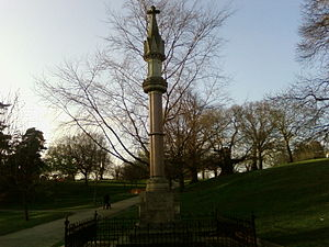 Christchurch Park - The Ipswich Martyrs monument at dusk.