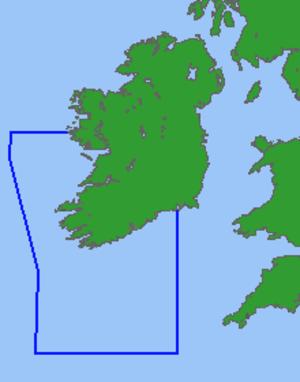 Irish Conservation Box - Outline of ICB (in blue) relative to the Irish coastline