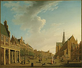 View of the Grote Markt, Haarlem, looking towards the Grote of St. Bavokerk