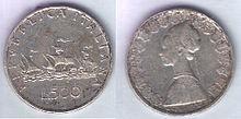 500 Lire italiane coniate nel 1960.