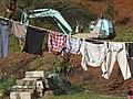 Izaki Yukaku-Fukuchiyama,Kyoto 京都府福知山市 猪崎遊郭街のユンボと洗濯物 DSCF8343.JPG