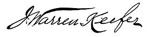 J. Warren Keifer - Image: J. Warren Keifer signature