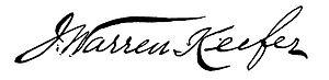 J. Warren Keifer - Image: J. Warren Keifer signature
