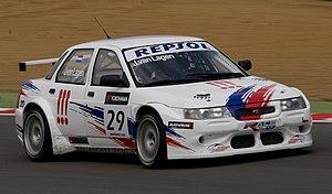 Russian Bears Motorsport - Van Lagen driving the Lada 110 WTCC car at Brands Hatch in 2008.