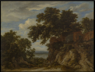 A Rocky Landscape with Great Oaks