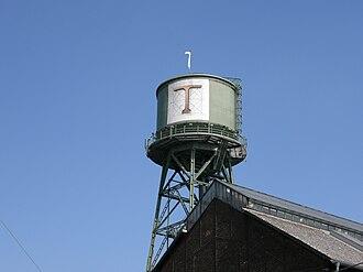 Ruhrtriennale - Ruhrtriennale logo on a watertower in Bochum