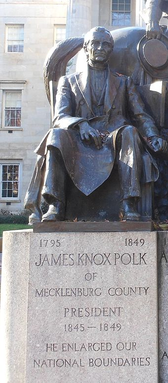 A statue of Polk at the North Carolina State Capitol James Knox Polk Statue.JPG