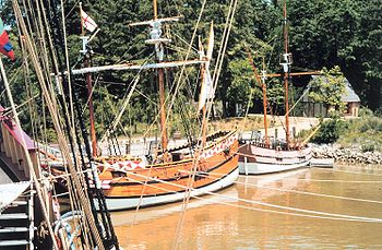 At Jamestown Settlement, replicas of Christopher Newport's 3 ships are docked in the harbor.