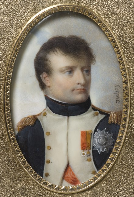 Napoleon I, miniature painting made in 1807 by Jean Baptiste Isabey. Jean-Baptiste-Isabey-Napoleon-I-Bonaparte-1769-1821.tif