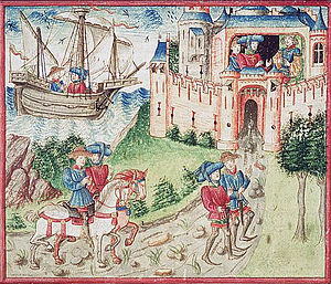 Gaston III, Count of Foix - Jean Froissart and Espaing de Lyon on their way; Gaston Fébus receiving them.