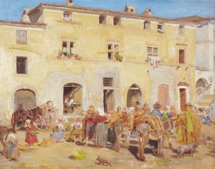 Market Square in Sora. Italy
