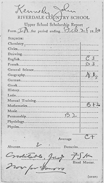 John F. Kennedy Riverdale Country School Report Card February 25, 1930 - NARA - 192826