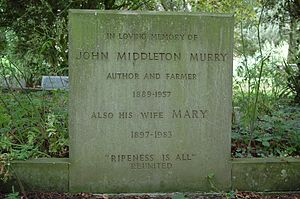 John Middleton Murry - Grave of John Middleton Murry at Thelnetham Church in Suffolk