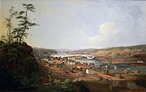 A painting of Oregon City, c. 1850–52, by John Mix Stanley