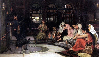 """""""Consulting the Oracle"""" by John William Waterhouse, showing eight priestesses in a temple of prophecy"""