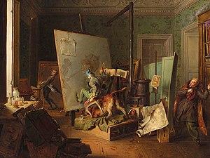 Josef Danhauser - Komische Szene in einem Maleratelier (oil on canvas, 1829)