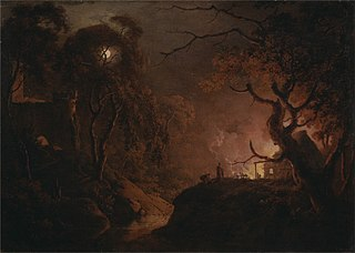 Cottage on Fire at Night