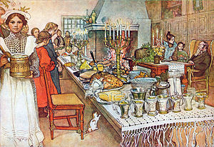 Christmas Eve - Julaftonen (Christmas Eve), a 1904–05 watercolor painting by Carl Larsson