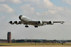 A Boeing KC-135R Stratotanker of the 100th ARW at RAF Mildenhall.