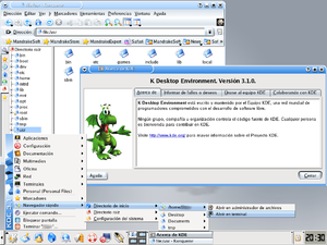 K Desktop Environment 3 - K Desktop Environment 3.1 with Konqueror and the About screen.