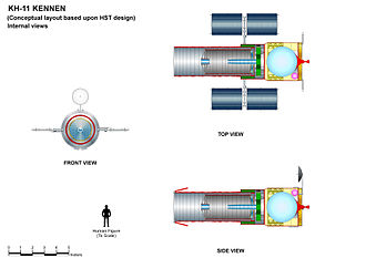 KH-11 Kennen - Conceptual drawing based upon Hubble Space Telescope (HST) layout with internal views