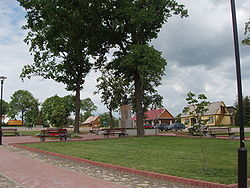 Main town square with monument to Antanas Strazdas