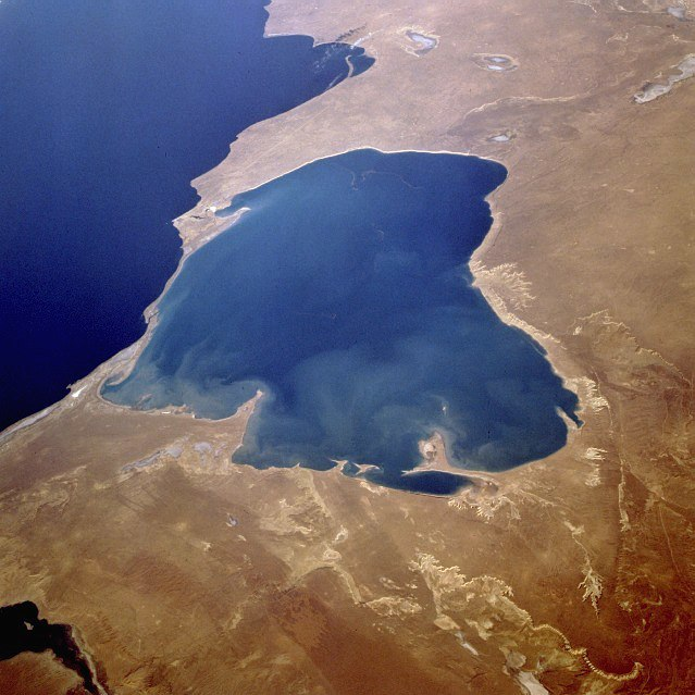 Kara-Bogaz Gol from space, September 1995