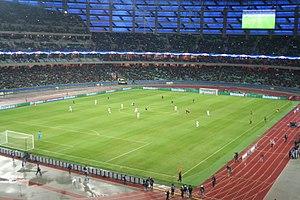 Baku Olympic Stadium - Qarabağ playing against Roma at Baku Olympic Stadium during the 2017–18 UEFA Champions League.