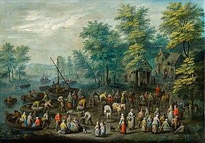 Carel Beschey - Landscape with figures