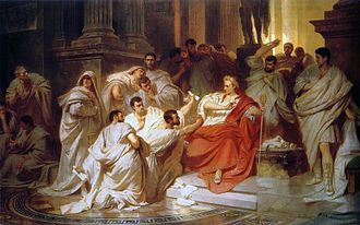 Tillius Cimber - Cimber (centre) holds out the petition and pulls at Caesar's toga, while Casca behind prepares to strike: painting by Karl von Piloty.