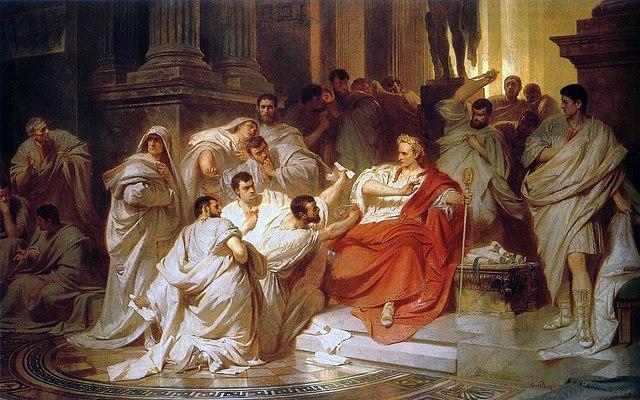 Убийство Цезаря (Карл Теодор Пилоти, 1865). Кимвр стягивает с шеи Цезаря тогу, а Каска за спиной замахивается кинжалом