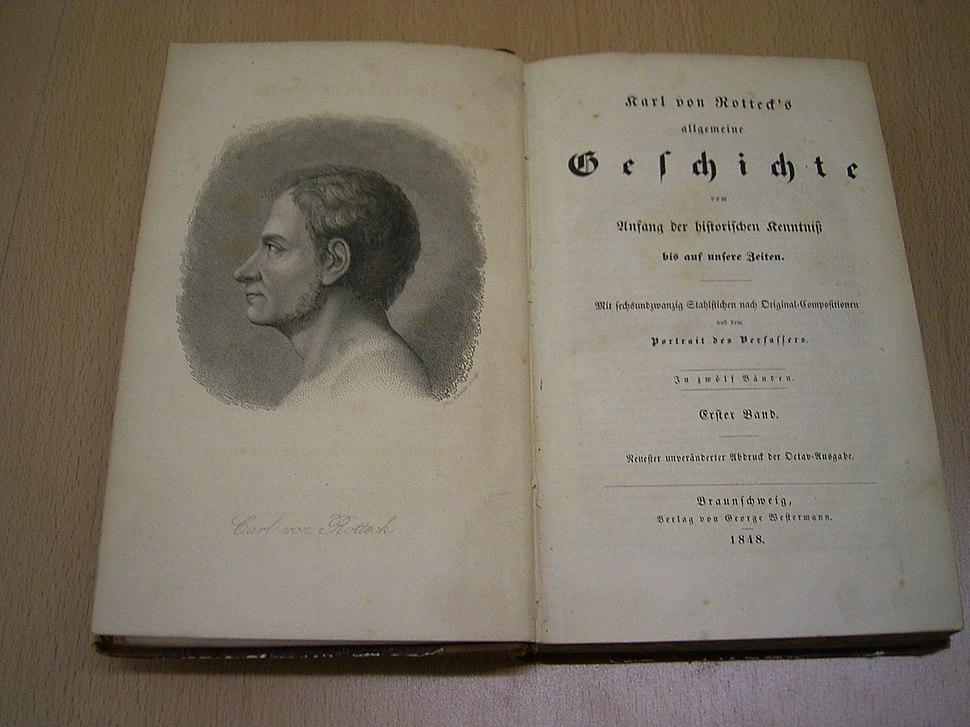 Karl von Rotteck's allgemeine Geschichte - Ausgabe von 1848 (Titelseite)