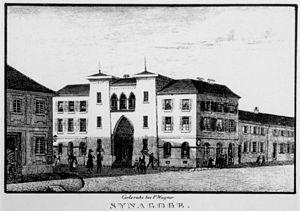 Karlsruhe Synagogue - Early image of Karlsruhe synagogue showing Egyptian style pylons