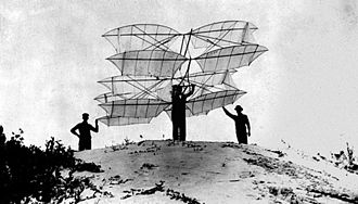 Octave Chanute - A twelve-winged glider of Chanute's design, prepared for launch from the dunes of Miller Beach in 1896.