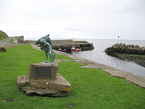 Neil M. Gunn - Kenn and the Salmon, from the characters in Highland River, a statue erected in memory of Neil Gunn at Dunbeath