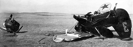 A destroyed Soviet biplane fighter (presumably a I-15 or a I-153) Khalkhin Gol Destroyed Soviet plane 1939.jpg