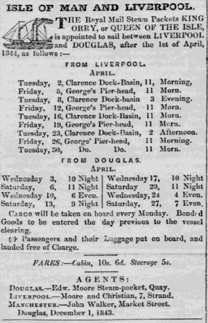 SS King Orry (1842) - Advertisement of passage between Douglas and Liverpool on board the King Orry and Queen of the Isle.