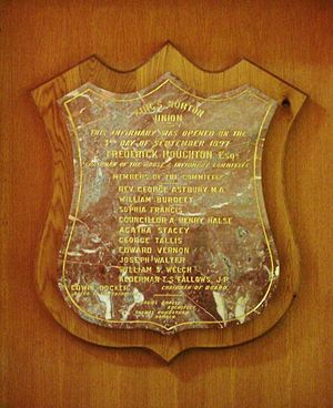 "Selly Oak Hospital - Commemorative plaque recording the opening of the King's Norton Union's Infirmary at Selly Oak, on the ""3rd Day of September 1897"""
