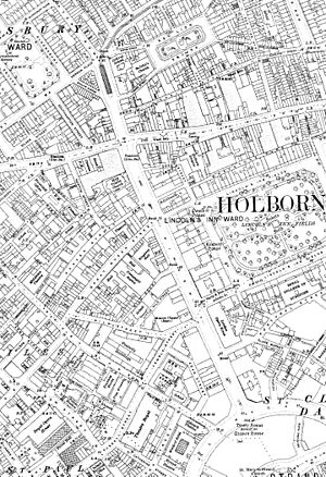 Kingsway, London - A 1910s Ordnance Survey map showing Kingsway just after it had been built and showing the entrance to the tramway tunnel at the north end.