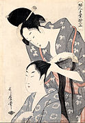Kitagawa Utamaro - Hairdresser (Kamiyui) - from the series 'Twelve types of women's handicraft (Fujin tewaza juniko)' - Google Art Project.jpg