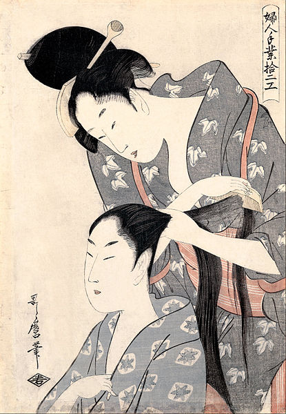 http://upload.wikimedia.org/wikipedia/commons/thumb/2/23/Kitagawa_Utamaro_-_Hairdresser_%28Kamiyui%29_-_from_the_series_%27Twelve_types_of_women%27s_handicraft_%28Fujin_tewaza_juniko%29%27_-_Google_Art_Project.jpg/415px-Kitagawa_Utamaro_-_Hairdresser_%28Kamiyui%29_-_from_the_series_%27Twelve_types_of_women%27s_handicraft_%28Fujin_tewaza_juniko%29%27_-_Google_Art_Project.jpg